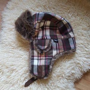 D&Y Faux Fur Plaid Print Trapper Hat